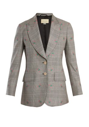 Prince of Wales-checked wool-blend blazer