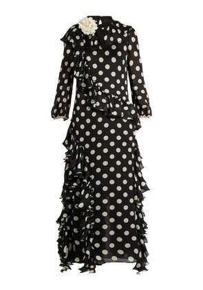 Ruffled polka-dot georgette gown