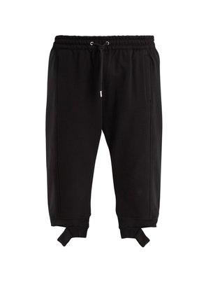 Split-cuff cotton-blend cropped track pants