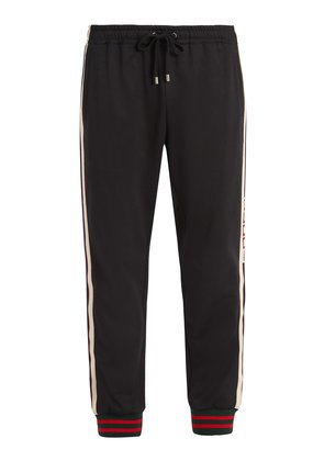 Web-trimmed jersey track pants