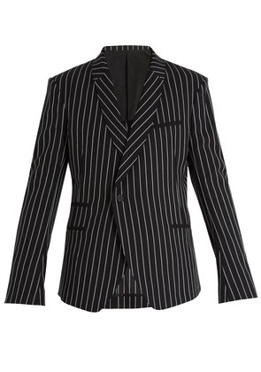 Shawl-lapel pinstriped wool blazer
