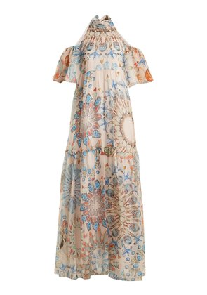 Quartz crystal-print silk-chiffon maxi dress