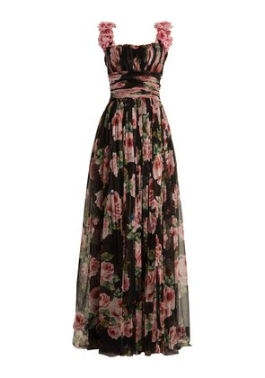 Rose-print silk-tulle gown
