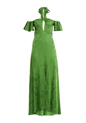 Orbit tie-neck leaf-jacquard satin gown