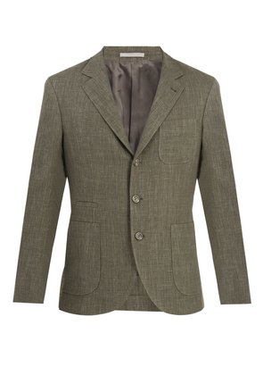 Single-breasted wool and linen blend blazer