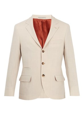 Single-breasted wool and linen-blend blazer