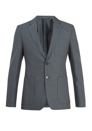 Single-breasted checked wool-blend blazer