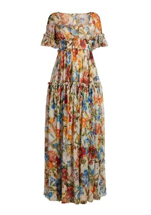 Floral-print ruffle-trimmed gown