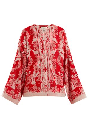 Floral-jacquard terry-towelling jacket