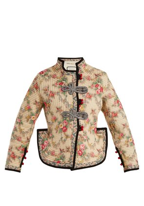 Floral-print quilted jacket