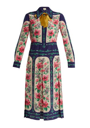 Rose-print crepe de Chine shirtdress