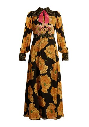 Dragon-embroidered poppy-print crepe dress