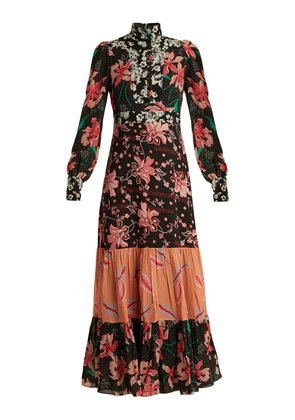 Floral patchwork-print stand-collar crepe dress