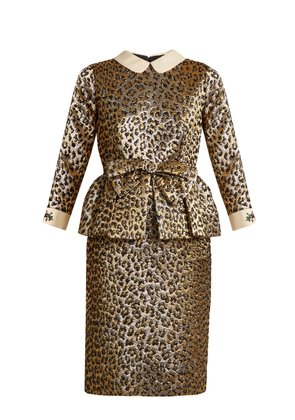 Bow-embellished leopard-jacquard peplum dress