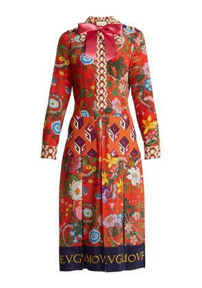 Floral patchwork-print silk crepe de Chine dress
