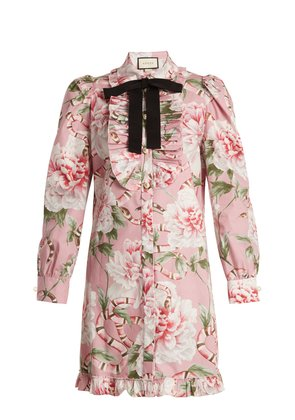 Floral-print stretch-cotton shirtdress