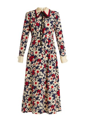 Butterfly-embroidery floral-print silk-crepe dress