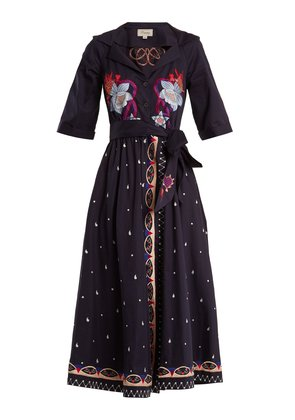 Divine floral-embroidered tie-waist cotton dress