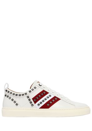 STRIPES STUDDED LEATHER SNEAKERS