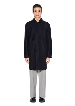 BOILED WOOL COAT W/ KNIT COLLAR