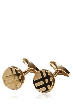 CHECK EMBOSSED METAL CUFFLINKS