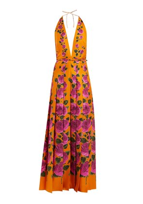 Le Jardin rose-print silk gown