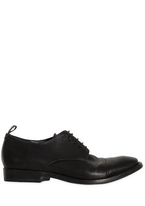 WASHED LEATHER DERBY LACE-UP SHOES