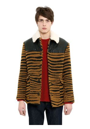 TIGER BOUCLE AVIATOR JACKET