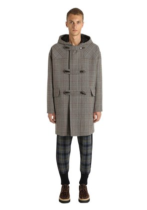 PLAID WOOL BLEND MONTGOMERY COAT