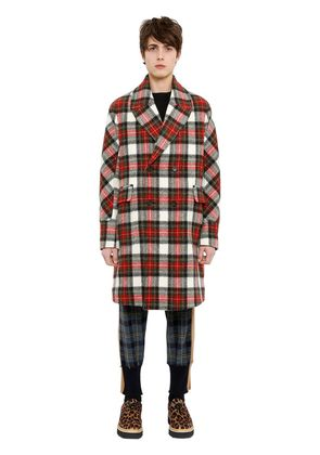 WOOL TARTAN DOUBLE BREASTED COAT