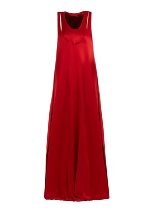 Scoop-neck layered satin-back crepe gown