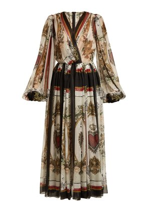 Queen of hearts and floral-print silk dress