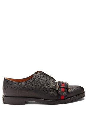Web-strapped leather brogues