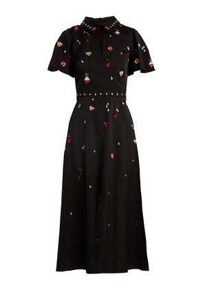 Saturn charm-embellished satin-cady midi dress