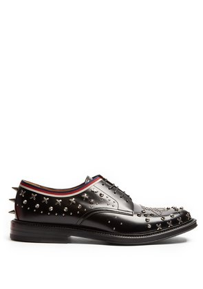 Beyond stud-embellished leather derby shoes