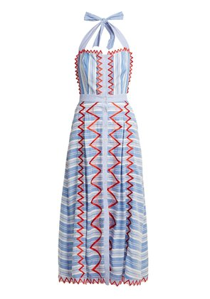 Trelliage zigzag-edged striped dress