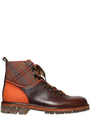 PLAID & LEATHER HIKING BOOTS