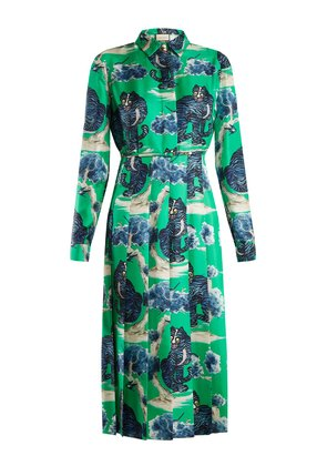Wild cat-print silk-twill shirt dress