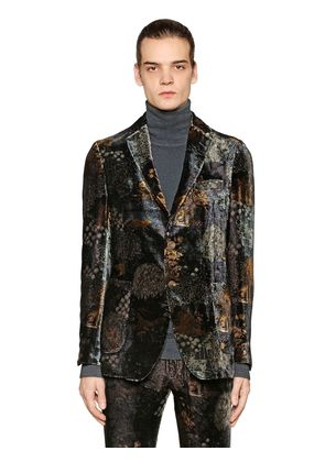 PRINTED VISCOSE & SILK VELVET JACKET