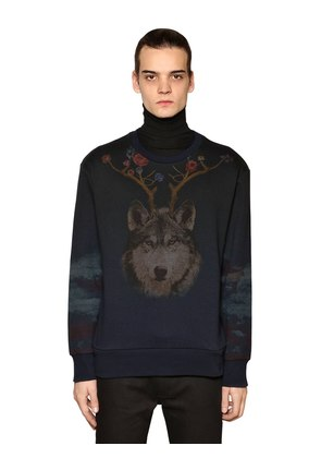 WOLF & BEAR PRINTED COTTON SWEATSHIRT