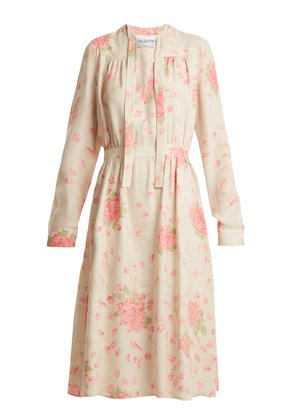 Rose-print silk-georgette dress