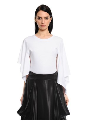 ASYMMETRIC DRAPED COTTON JERSEY TOP