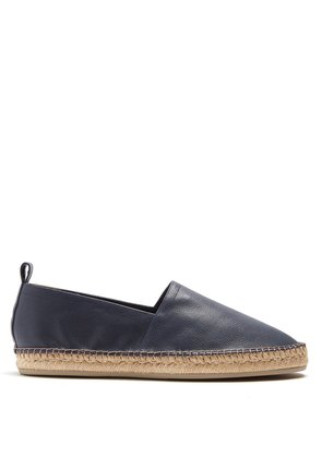 Contrast-stitch leather espadrilles