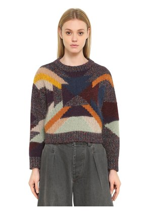 INTARSIA WOOL MOHAIR CROPPED SWEATER
