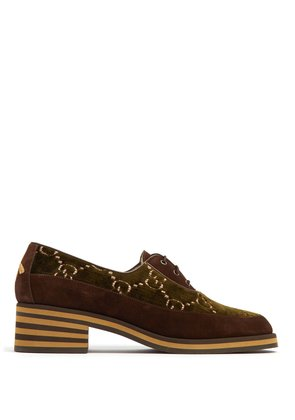 Thompson logo-jacquard velvet derby shoes