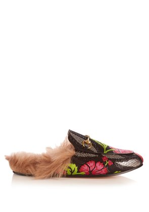 Princetown shearling-lined jacquard loafers