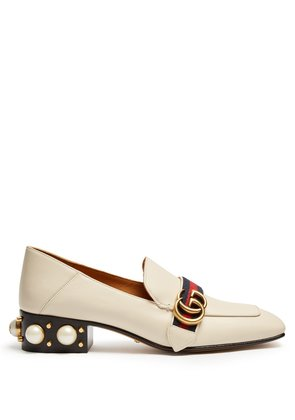 Faux-pearl embellished leather loafers
