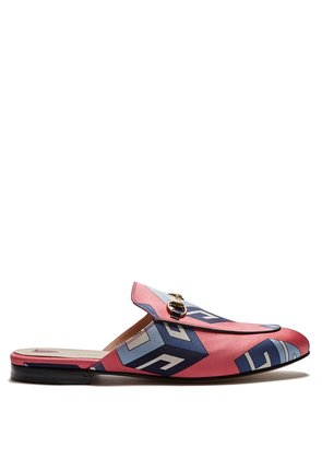 Princetown GG Wallpaper-print satin loafers