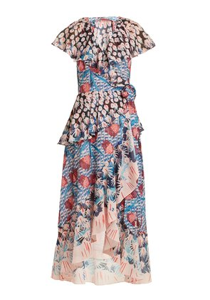 Garden cactus-print ruffled wrap dress