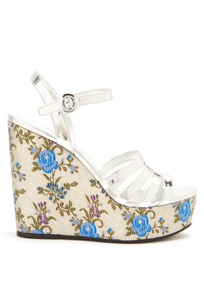 Floral-jacquard leather wedge sandals
